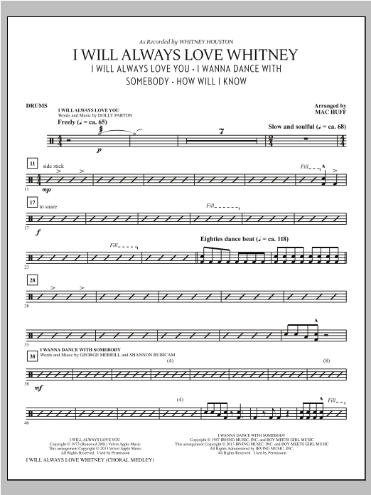 Mac Huff I Will Always Love Whitney - Drums sheet music notes printable PDF score