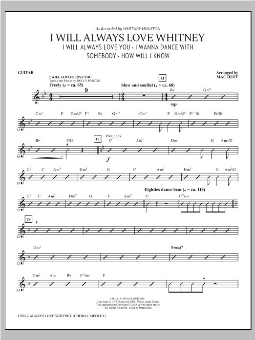 Mac Huff I Will Always Love Whitney - Guitar sheet music notes printable PDF score