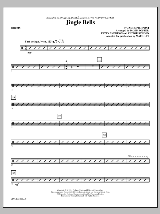 Mac Huff Jingle Bells - Drums sheet music notes and chords. Download Printable PDF.