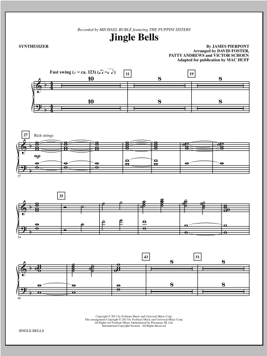 Mac Huff Jingle Bells - Synthesizer sheet music notes and chords. Download Printable PDF.
