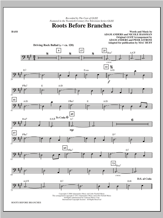 Mac Huff Roots Before Branches - Bass sheet music notes printable PDF score