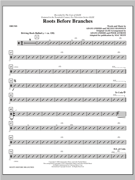 Mac Huff Roots Before Branches - Drums sheet music notes printable PDF score