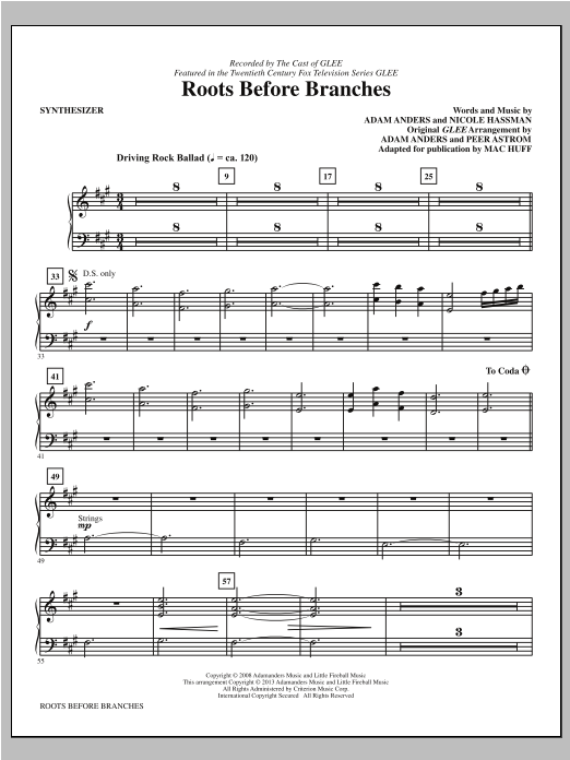 Mac Huff Roots Before Branches - Synthesizer sheet music notes printable PDF score