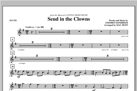 Mac Huff Send in the Clowns - Flute sheet music notes printable PDF score
