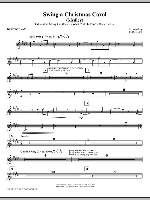 Mac Huff Swing A Christmas Carol (Medley) - Baritone Saxophone sheet music notes printable PDF score