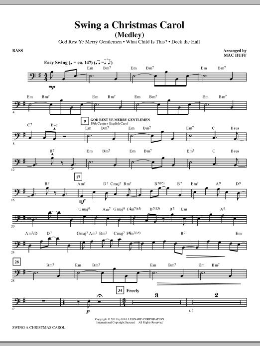 Mac Huff Swing A Christmas Carol (Medley) - Bass sheet music notes printable PDF score