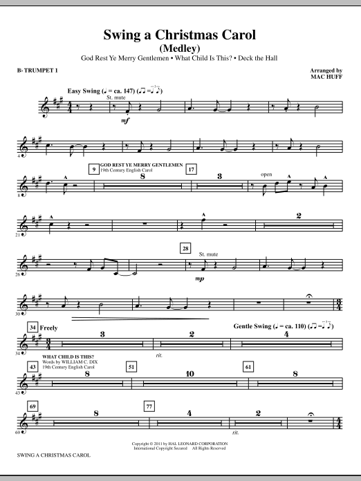 Mac Huff Swing A Christmas Carol (Medley) - Bb Trumpet 1 sheet music notes printable PDF score