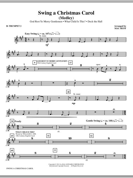 Mac Huff Swing A Christmas Carol (Medley) - Bb Trumpet 2 sheet music notes printable PDF score