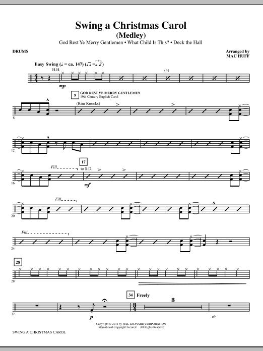 Mac Huff Swing A Christmas Carol (Medley) - Drums sheet music notes printable PDF score