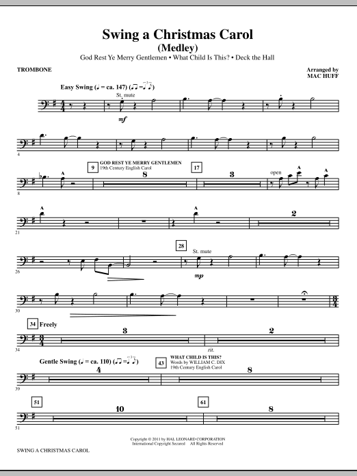 Mac Huff Swing A Christmas Carol (Medley) - Trombone sheet music notes printable PDF score