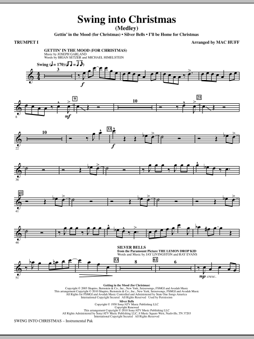 Mac Huff Swing Into Christmas (Medley) - Bb Trumpet 1 sheet music notes printable PDF score