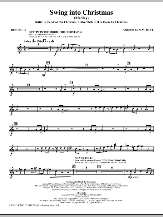 Mac Huff Swing Into Christmas (Medley) - Bb Trumpet 2 sheet music notes printable PDF score