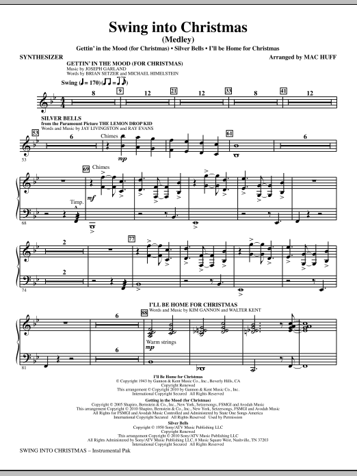 Mac Huff Swing Into Christmas (Medley) - Synthesizer sheet music notes printable PDF score