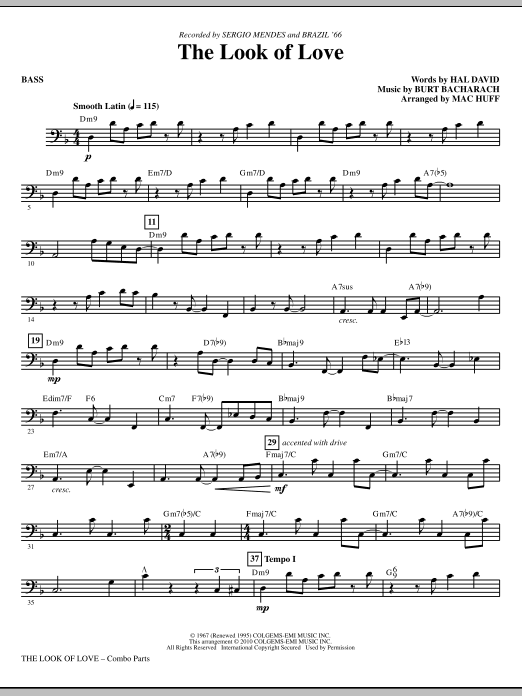 Mac Huff The Look Of Love - Bass sheet music notes printable PDF score