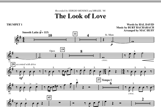Mac Huff The Look Of Love - Bb Trumpet 1 sheet music notes printable PDF score