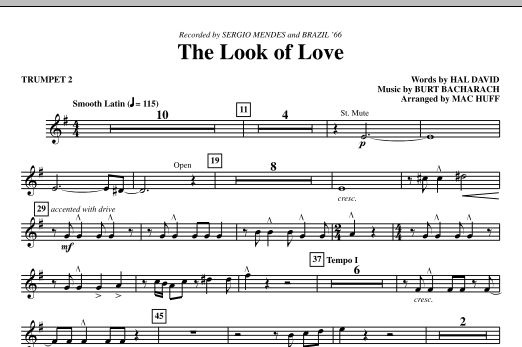 Mac Huff The Look Of Love - Bb Trumpet 2 sheet music notes printable PDF score