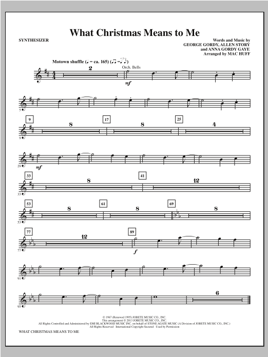 Mac Huff What Christmas Means to Me - Synthesizer sheet music notes printable PDF score