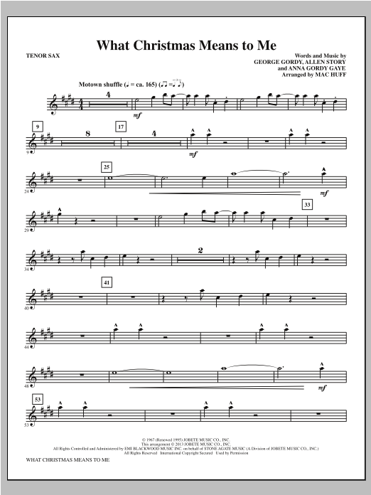 Mac Huff What Christmas Means to Me - Tenor Sax sheet music notes printable PDF score
