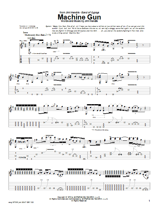 Jimi Hendrix Machine Gun sheet music notes printable PDF score