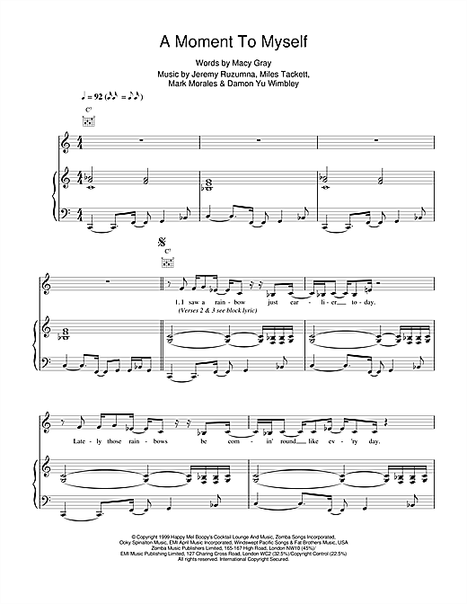 Macy Gray A Moment To Myself sheet music notes printable PDF score