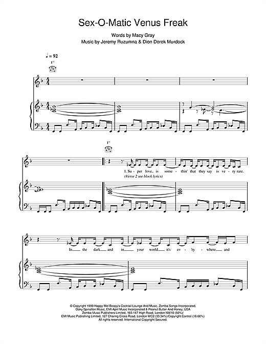 Macy Gray Sexomatic Venus Freak sheet music notes printable PDF score