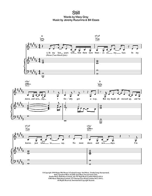 Macy Gray Still sheet music notes printable PDF score