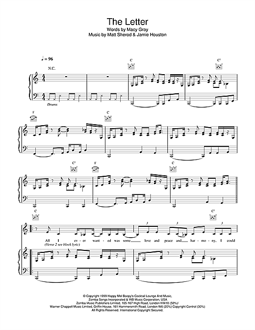 Macy Gray The Letter sheet music notes printable PDF score