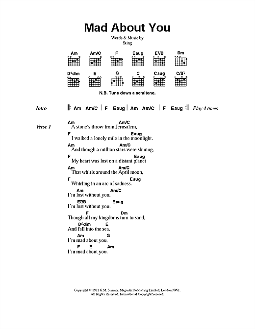 Sting Mad About You sheet music notes printable PDF score