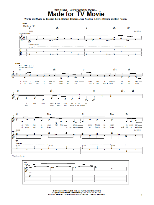 Incubus Made For TV Movie sheet music notes printable PDF score