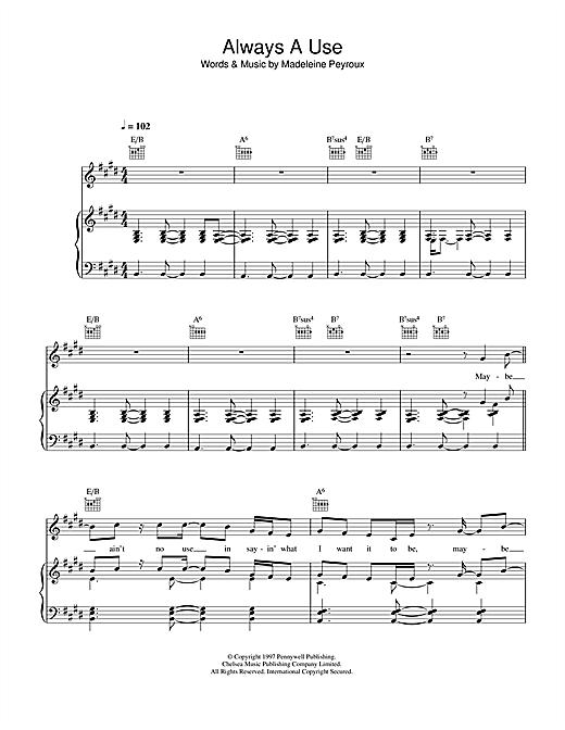 Madeleine Peyroux Always A Use sheet music notes printable PDF score