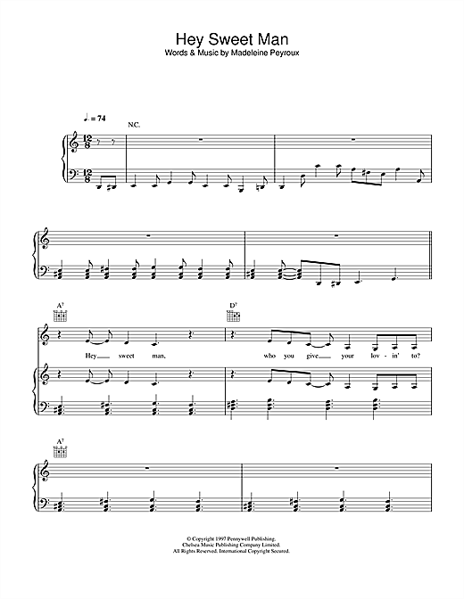 Madeleine Peyroux Hey Sweet Man sheet music notes printable PDF score