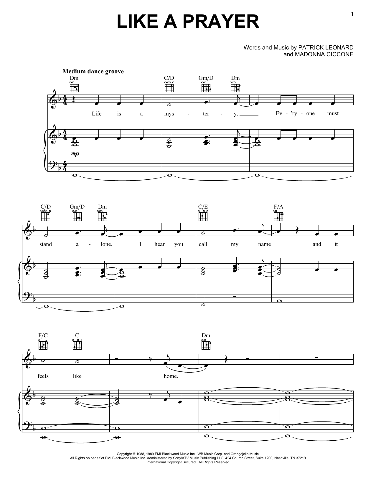 Madonna Like A Prayer sheet music notes and chords. Download Printable PDF.