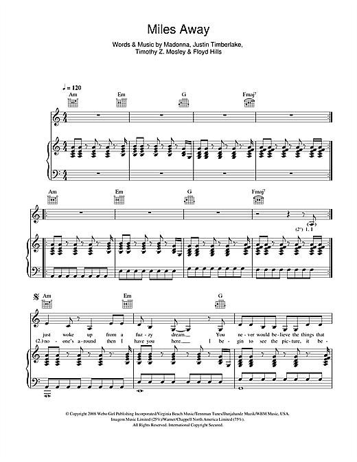 Madonna Miles Away sheet music notes printable PDF score