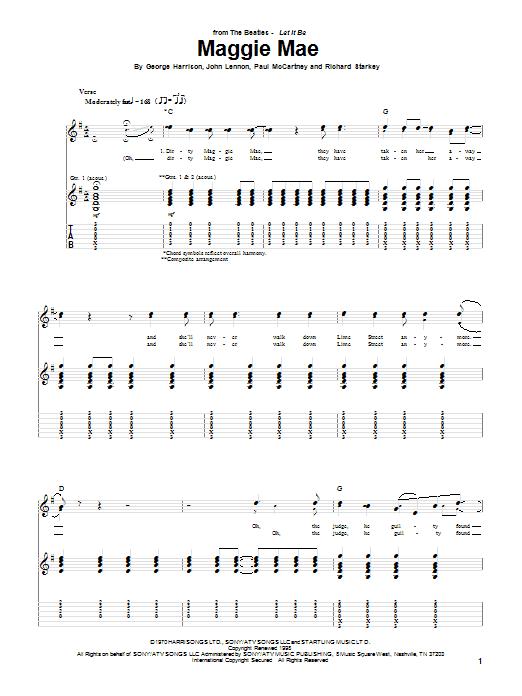 The Beatles Maggie Mae sheet music notes printable PDF score