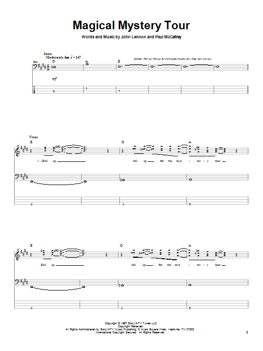The Beatles Magical Mystery Tour sheet music notes printable PDF score