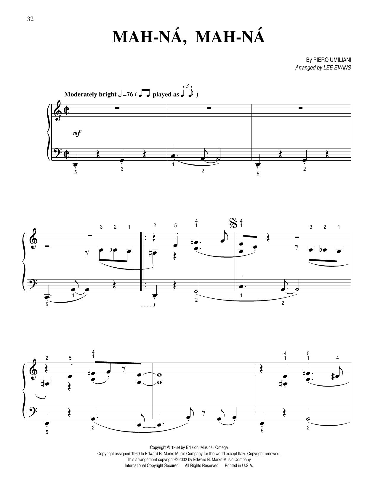 Piero Umiliani Mah-Na Mah-Na (arr. Lee Evans) sheet music notes printable PDF score