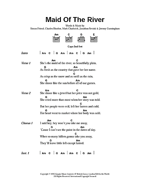 The Levellers Maid Of The River sheet music notes printable PDF score