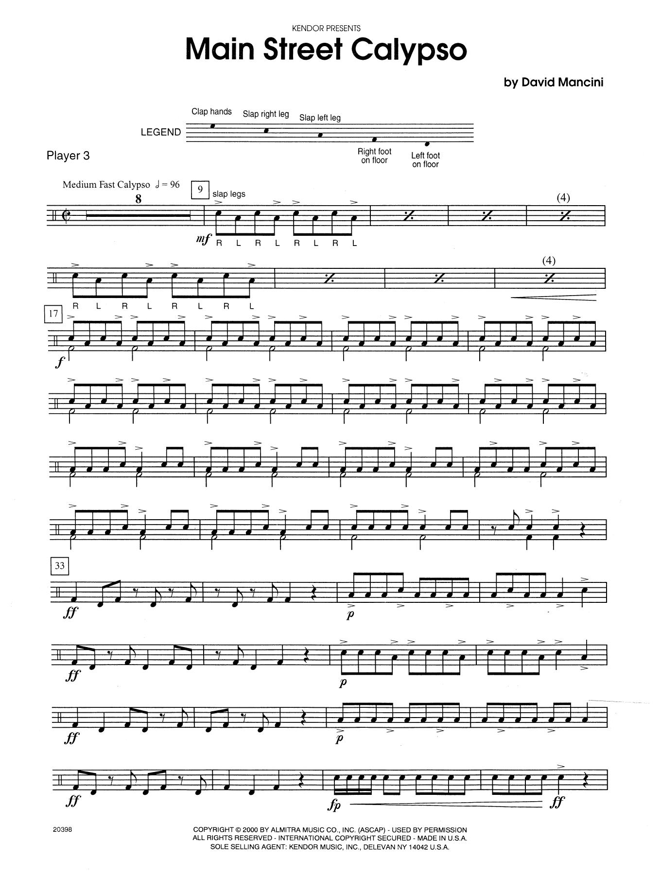 Dave Mancini Main Street Calypso - Percussion 3 sheet music notes printable PDF score