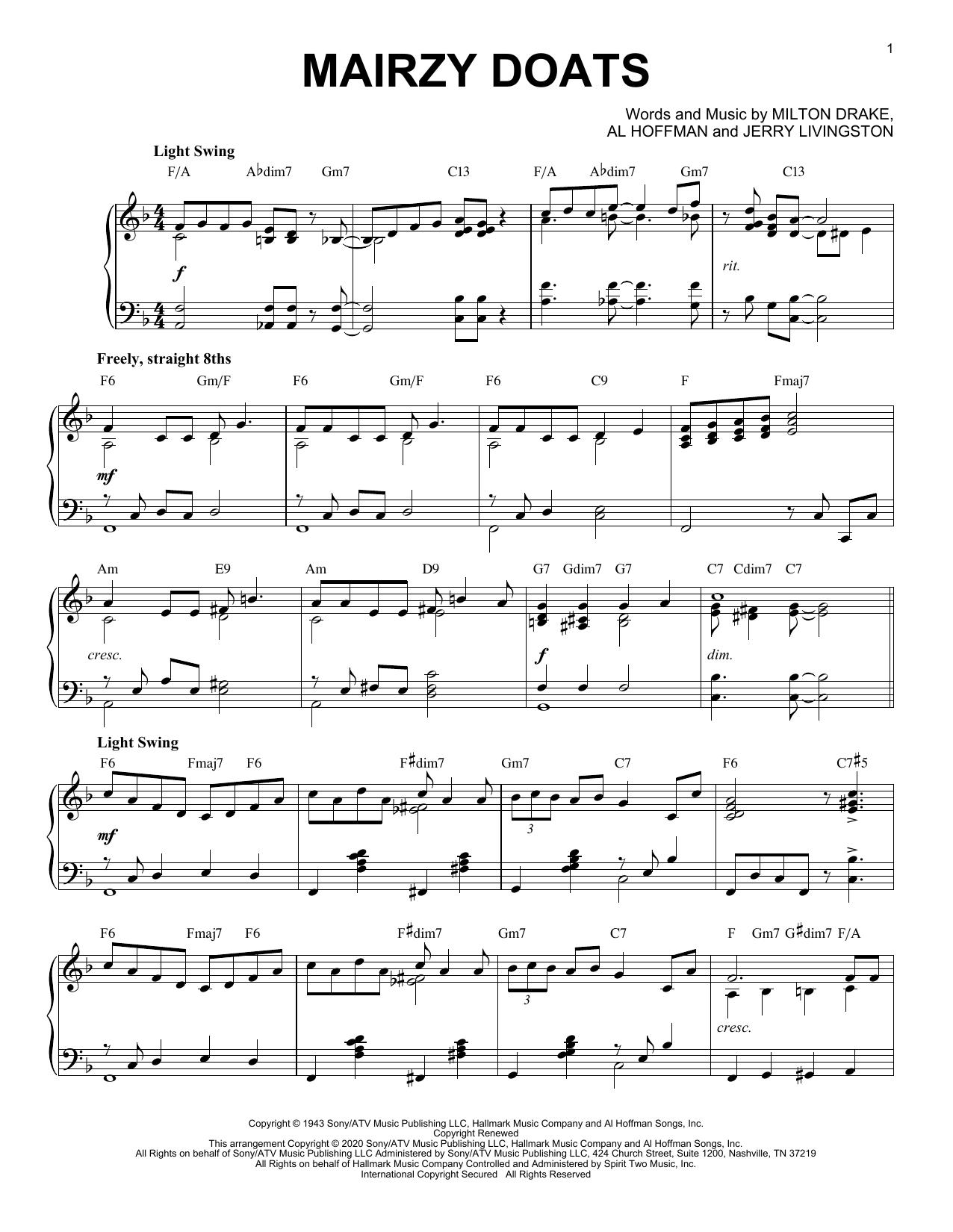 Merry Macs Mairzy Doats [Jazz version] (arr. Brent Edstrom) sheet music notes printable PDF score