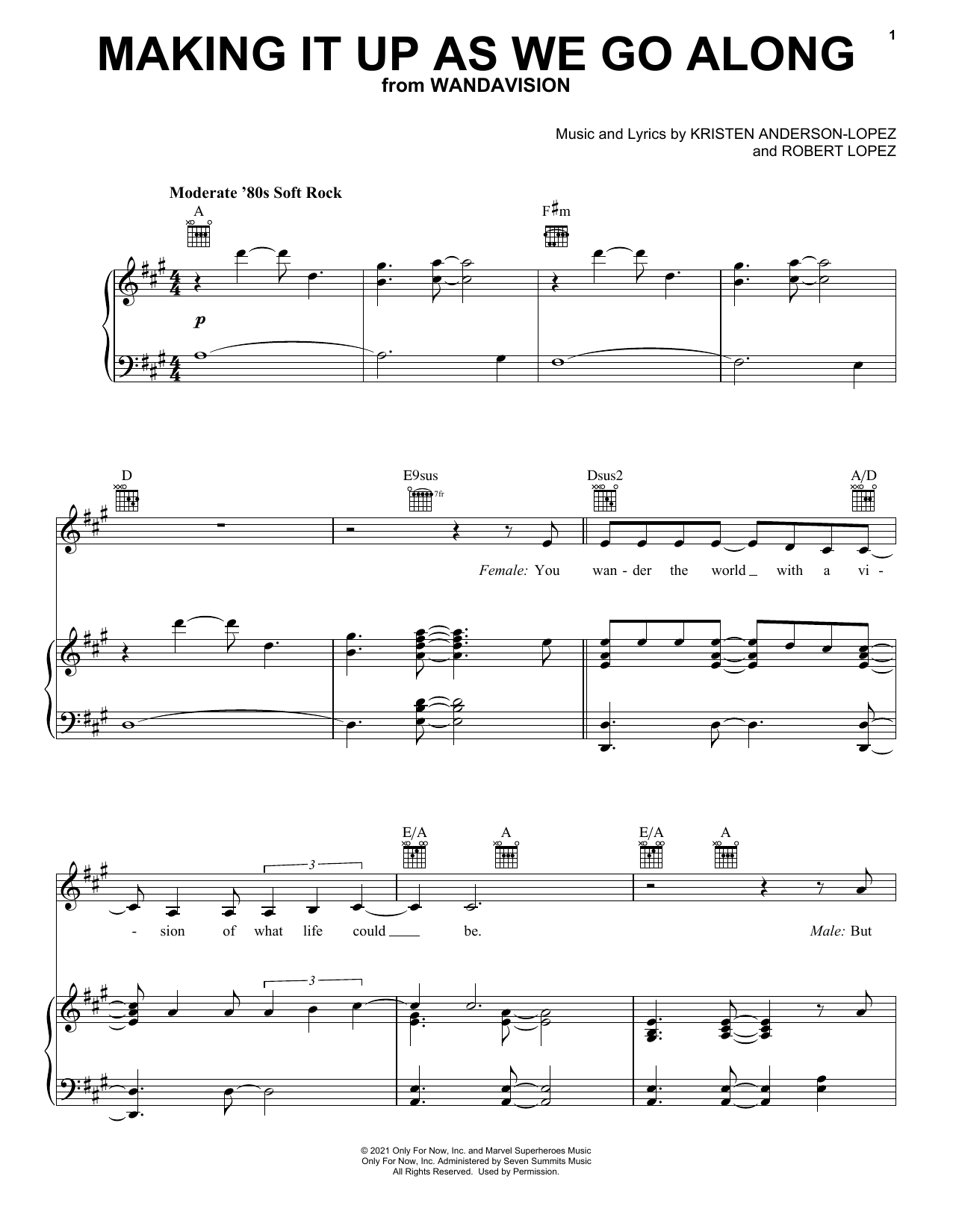 Kristen Anderson-Lopez & Robert Lopez Making It Up As We Go Along (from WandaVision) sheet music notes printable PDF score