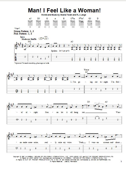 Shania Twain Man! I Feel Like A Woman! sheet music notes printable PDF score