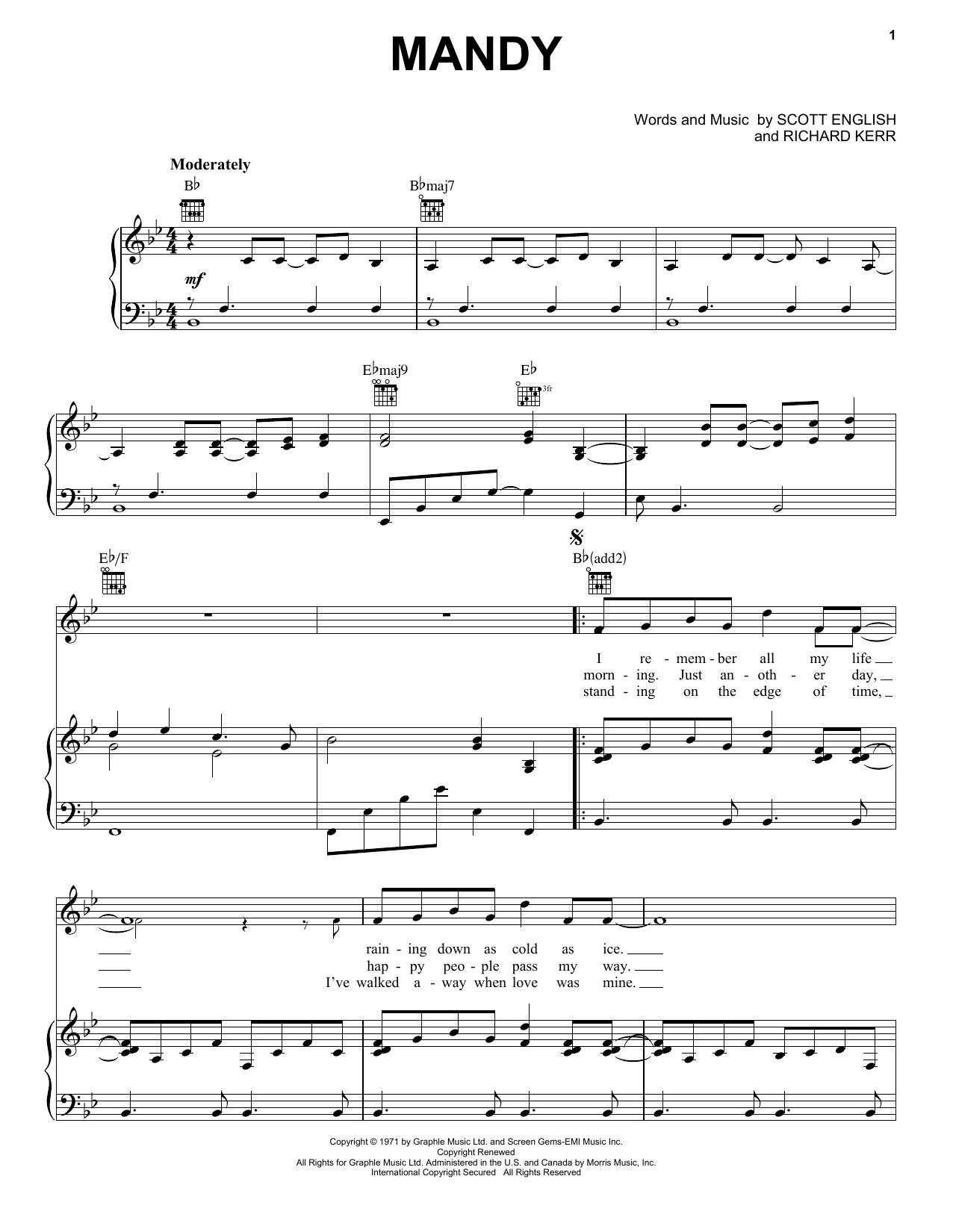 Barry Manilow Mandy sheet music notes printable PDF score