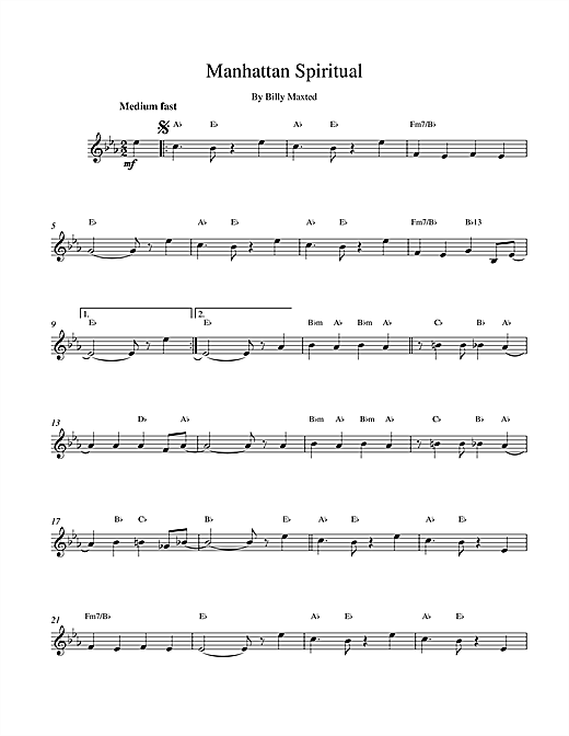 Billy Maxted Manhattan Spiritual sheet music notes printable PDF score