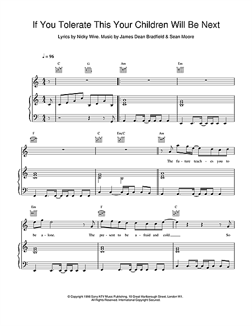 Manic Street Preachers If You Tolerate This Your Children Will Be Next sheet music notes printable PDF score