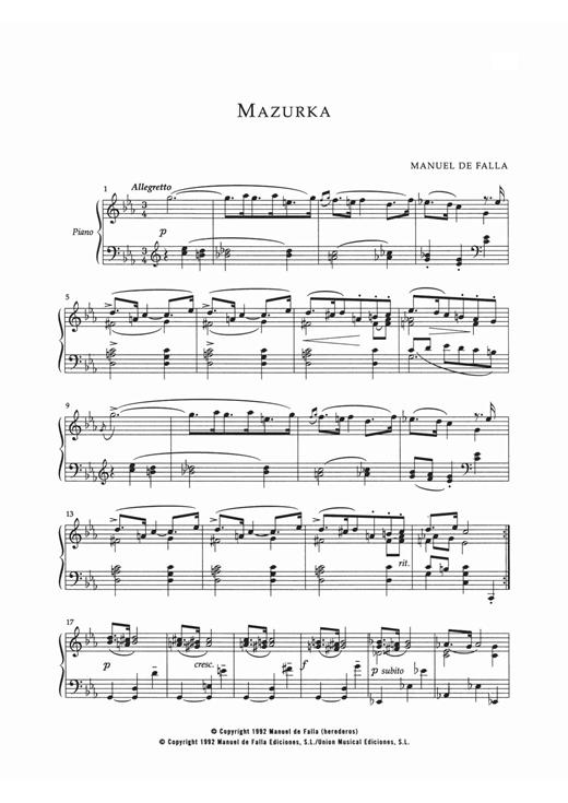 Manuel De Falla Mazurka In Do Menor sheet music notes and chords. Download Printable PDF.