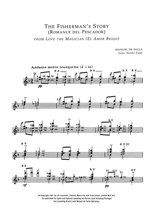 Manuel De Falla The Fisherman's Story (Romance Del Pescador From El Amor Brujo) sheet music notes and chords. Download Printable PDF.