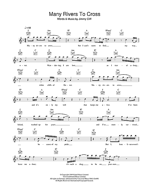 Jimmy Cliff Many Rivers To Cross sheet music notes printable PDF score