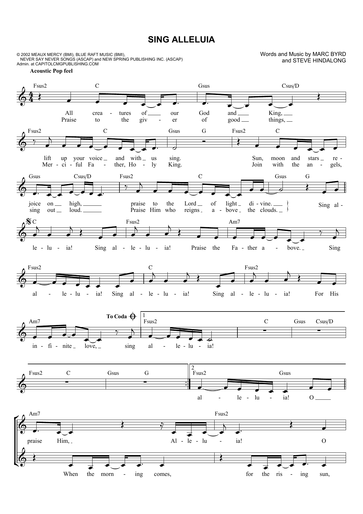 Marc Byrd Sing Alleluia sheet music notes and chords. Download Printable PDF.