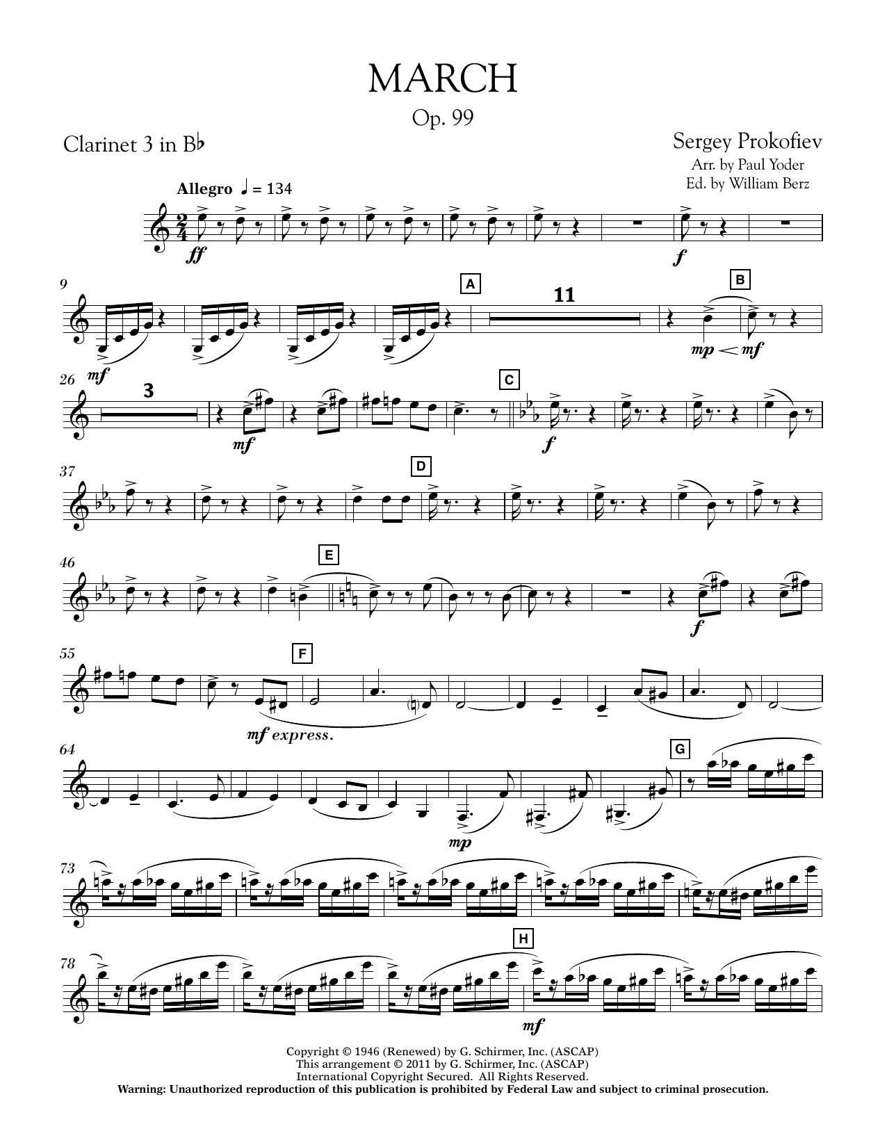 Paul Yoder March, Op. 99 - Bb Clarinet 3 sheet music notes printable PDF score
