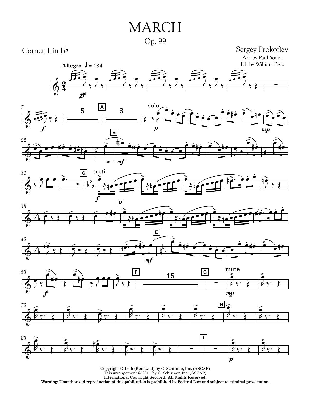 Paul Yoder March, Op. 99 - Bb Cornet 1 sheet music notes printable PDF score